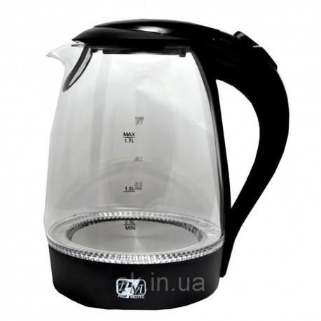 Электрический дисковый стеклянный чайник Promotech PM-810 black черный
