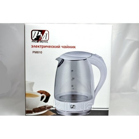 Электрический дисковый стеклянный чайник Promotech PM-810 white белый