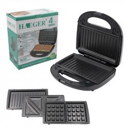 Электрическая вафельница 3в1 HAEGER HG-213 для тонких вафель бутербродница гриль мультимейкер сэндвичница