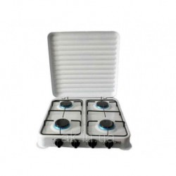 Плита газовая настольная D&T DT-6004 на 4 конфорки эмалированная с крышкой