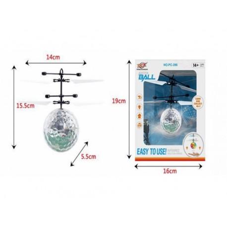 Игрушка №РС-888 прозр. летающ. шар сенсор. LED подсвет. USB зарядка с пультом (23*16*4,5)см (120)