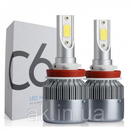 LED лампы SuperLED HeadLight C6 H11 12-24V COB (2шт)