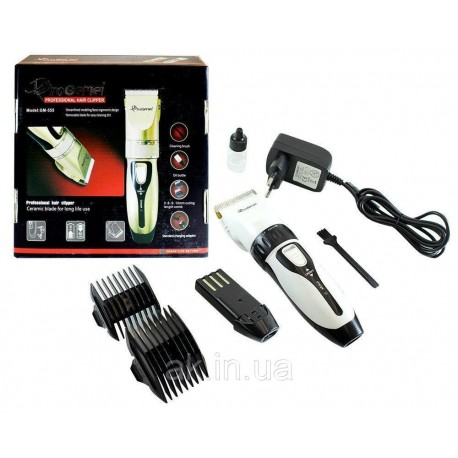 Беспроводная машинка для стрижки волос Gemei GM 555 с двумя аккумуляторами White
