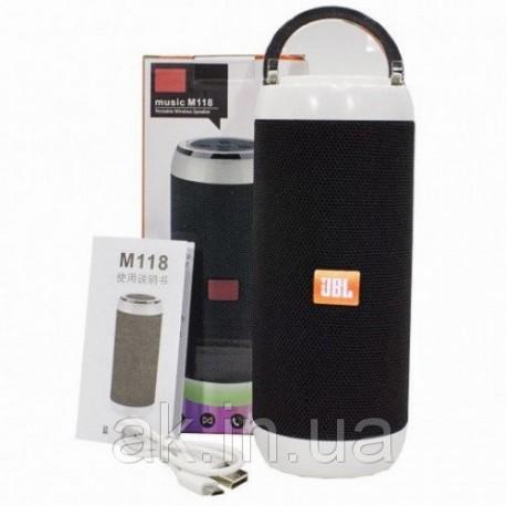 Колонка с Bluetooth M-118 175*60mm, размер динамика 45 mm, 1200mAH, 2 hours of playtime, TF USB BLUETOOTH FM