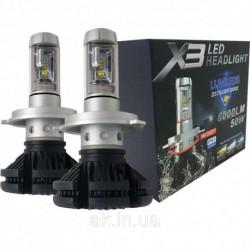 Комплект светодиодных ламп SVS H7 серии X3 6000К холодный белый свет