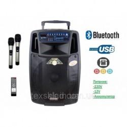 Аккумуляторная колонка с микрофонами SL 1501 / 400W (USB/Bluetooth/Пульт Ду