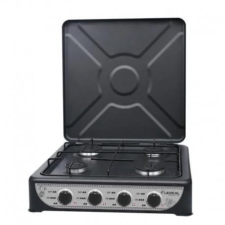 Плита газовая LEXICAL LGS-2814-2 на четыре комфорки 6,2 кВт черная коричневая газовая плита