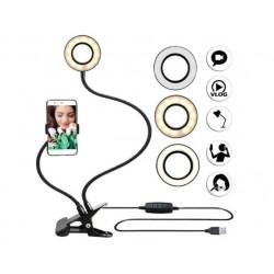 Гибкий штатив держатель для телефона с LED подсветкой селфи-кольцо на прищепке для трансляций блогера Live Streaming