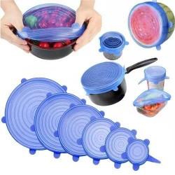 Набор силиконовых крышек, пленок для хранения продуктов Silicon Lids 6 штук