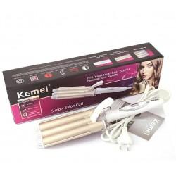 Плойка тройная для волос Kemei KM 1010